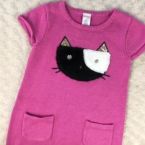 Gymboree Kitty Cat Sweater Dress Size 7 Pink